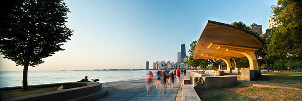 Chicago Poster featuring the photograph Chicago Lakefront Panorama by Steve Gadomski