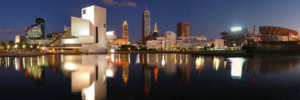 Cleveland Skyline Poster featuring the photograph Cleveland Skyline At Dusk by Jon Holiday