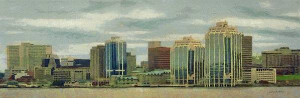 Halifax Poster featuring the painting Halifax From The Harbour by Jeff Kolker