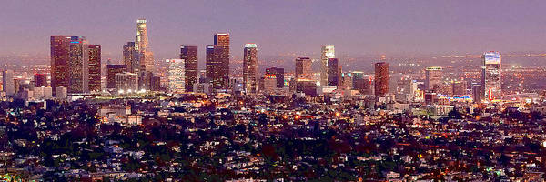 Los Angeles Skyline Poster featuring the photograph Los Angeles Skyline At Dusk by Jon Holiday