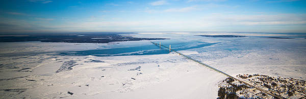 Poster featuring the photograph Mackinac Bridge In February by North American Aerials LLC