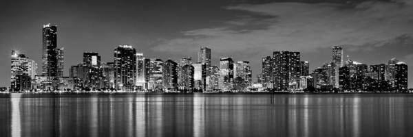 Miami poster featuring the photograph miami skyline at dusk black and white bw panorama by jon
