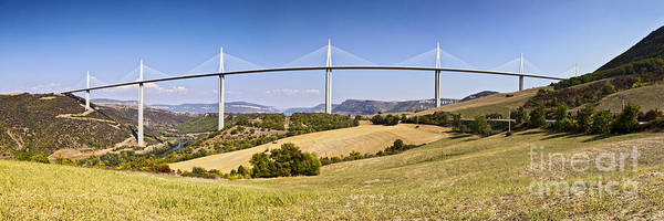A75 Poster featuring the photograph Millau Viaduct Panorama Midi Pyrenees France by Colin and Linda McKie