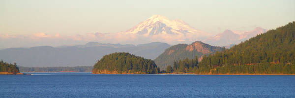 Mt Baker Panorama From The South San Juan Island Cascade Mountain Landscape Seattle Washington Wa Poster featuring the photograph Mt Baker by Brian Harig