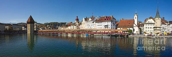 Europe Poster featuring the photograph Panoramic View Of Historic Lucerne by George Oze