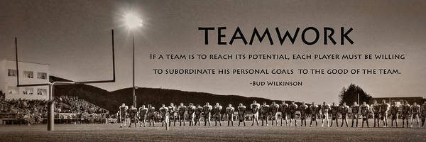 Football Poster featuring the photograph Teamwork by Lori Deiter
