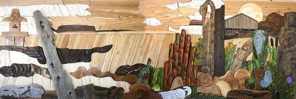 Cedar Poster featuring the sculpture To Make You Smile Mural by Teddy n Laurie Mahood