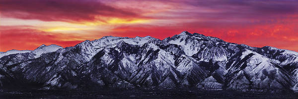 Sky Poster featuring the photograph Wasatch Sunrise 3x1 by Chad Dutson