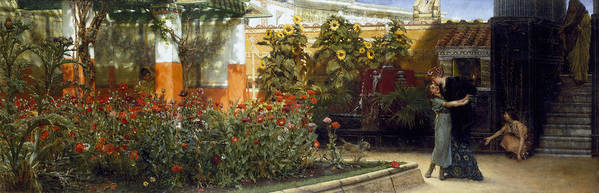 Corner Poster featuring the painting Corner Of A Roman Garden by Sir Lawrence Alma-Tadema