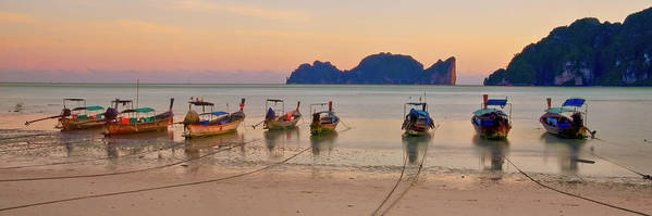 Horizontal Poster featuring the photograph Longtail Boats On Beach At Sunset by Image by Ben Engel