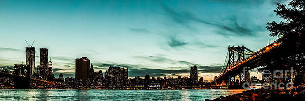 Manhatten Poster featuring the photograph New Yorks Skyline At Night Ice 1 by Hannes Cmarits