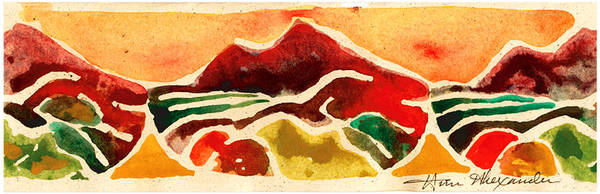 Red Poster featuring the painting High Mountain Meadows by Annie Alexander