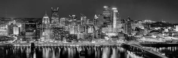 Pittsburgh Skyline At Night Poster featuring the photograph Pittsburgh Pennsylvania Skyline At Night Panorama by Jon Holiday