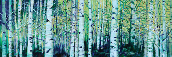 Landscape Poster featuring the painting Aspen Fall by Ron Patterson