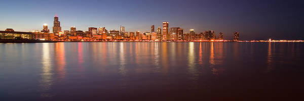 Chicago Poster featuring the photograph Chicago Dusk Skyline Panoramic by Sven Brogren