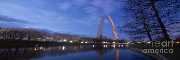 Gateway Arch Poster featuring the photograph Gateway Arch At Dawn Panoramic by Sven Brogren