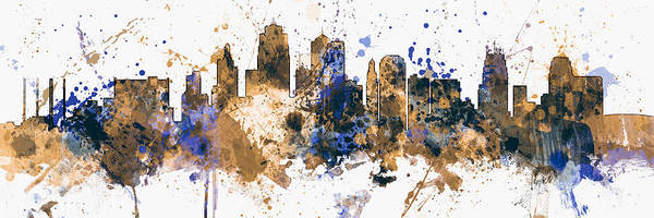 Kansas City Poster featuring the digital art Kansas City Missouri Skyline Panoramic by Michael Tompsett