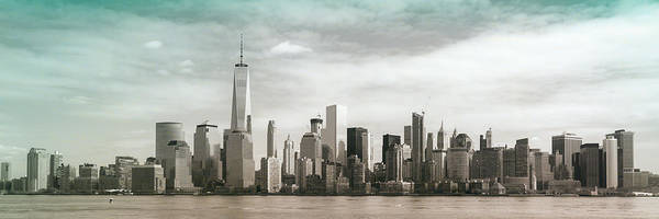 Jersey City Poster featuring the photograph Lower Manhattan Panoramic Skyline by Erin Cadigan
