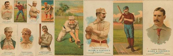 Baseball Poster featuring the photograph Old Baseball Cards Collage by Don Struke