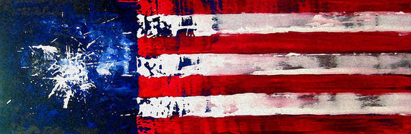 Flag Poster featuring the painting Patriot's Theme by Charles Jos Biviano