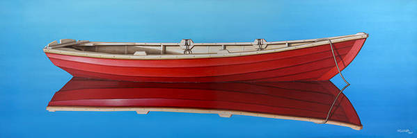 Red Poster featuring the painting Red Boat by Horacio Cardozo