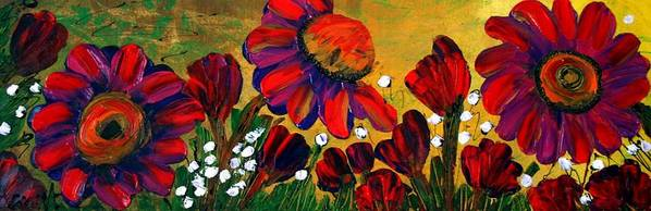 Flowers Poster featuring the painting Red Garden by Luiza Vizoli