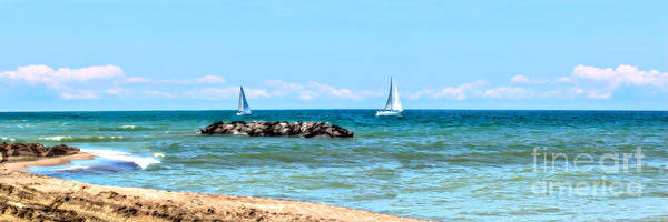 Lake Erie Poster featuring the photograph Sailing Days On Lake Erie Panorama by Randy Steele