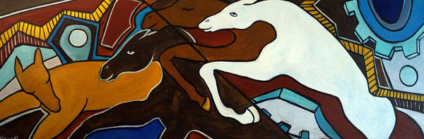 Horse Abstract Poster featuring the painting Taffy Horses by Valerie Vescovi