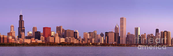 Chicago Poster featuring the photograph The Chicago Skyline At Sunrise by Justin Foulkes