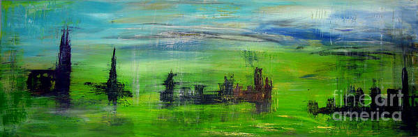 Clouds Poster featuring the painting W74 - Utopia by Kunst mit Herz Art with Heart