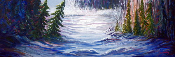 Northern Canada Winter Wilderness Forest Poster featuring the painting Wilderness by Joanne Smoley