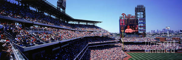 Panoramic Poster featuring the photograph New York Mets V Philadelphia Phillies by Jerry Driendl