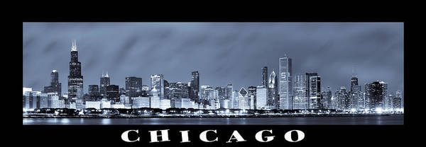 Chicago Skyline Poster featuring the photograph Chicago Skyline At Night by Sebastian Musial