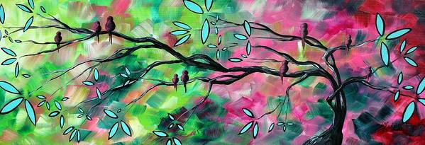 Abstract Poster featuring the painting Abstract Landscape Bird And Blossoms Original Painting Birds Delight By Madart by Megan Duncanson