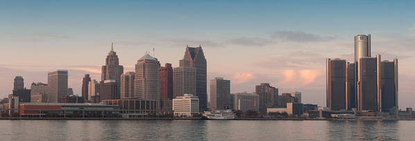 Detroit Poster featuring the photograph Detroit At Dusk by Andreas Freund
