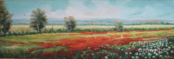 Summer Poster featuring the painting Field Of Poppies by Sorin Apostolescu