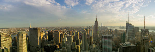 Clouds Poster featuring the photograph Nyc Panorama 2 by Rima Biswas