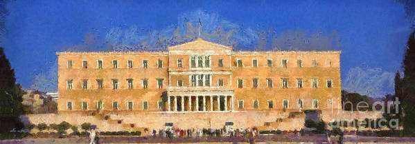 People; Tourists; Parliament; Syntagma; Square; Athens; City; Capital; Attica; Attika; Attiki; Greece; Hellas; Greek; Hellenic; Europe; European; Holidays; Vacation; Travel; Trip; Voyage; Journey; Tourism; Touristic; Blue Sky; Paint; Painting; Paintings; Panorama; Panoramic Poster featuring the painting Parliament Of Athens by George Atsametakis