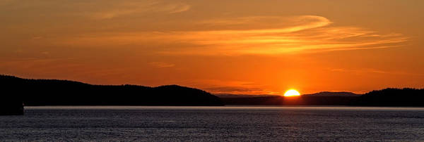 Puget Sound Sunset Panorama From San Juan Island Cascade Mountain Landscape Seattle Washington Wa Poster featuring the photograph Puget Sound Sunset - Washington by Brian Harig