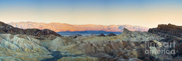 Valley Poster featuring the photograph Zabriskie Point Panorana by Jane Rix