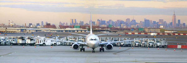 Airport Poster featuring the photograph Airport Overlook The Big City by Mike McGlothlen