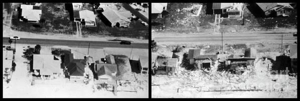 History Poster featuring the photograph Before And After Hurricane Eloise 1975 by Science Source