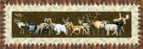 Wildlife Poster featuring the painting Big Game Lodge by JQ Licensing