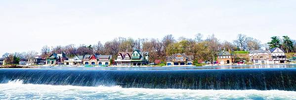 Boathouse Row From Fairmount Dam Poster featuring the photograph Boathouse Row From Fairmount Dam by Bill Cannon