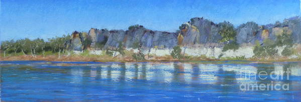 Geikie Gorge River Cruise Poster featuring the pastel Geikie Gorge by Nadine Kelly