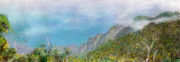 Rainbow Colors Pastel Poster featuring the painting Kalalau Mist by Kenneth Grzesik