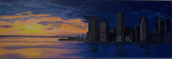 Sunset Poster featuring the painting Sunset In New York City by Nancy Nuce