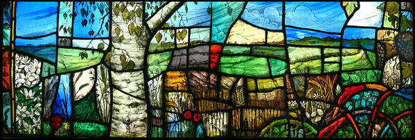 Stained Glass Poster featuring the glass art Wiltshire Landscape by Andrew Taylor