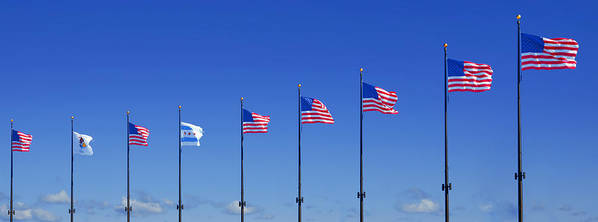 American Poster featuring the photograph American Flags On Chicago's Famous Navy Pier by Christine Till