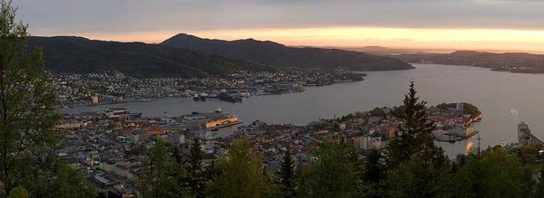 Panorama Poster featuring the photograph Bergen Sunset Panorama by Benjamin Reed